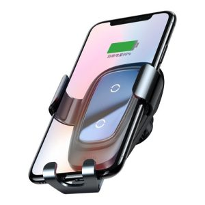 Suport masina Baseus Wireless Charger Gravity Metal cu incarcare wireless qi argintiu-0